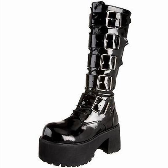 d20d30931de4 Black goth Demonia knee high buckle boots