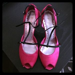 Hot pink satin & black patent t-strap d'orsey pump