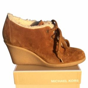 MICHAEL KORS Suede Wedge Booties
