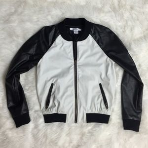 Jackets & Blazers - Black & White Faux Leather Jacket SMALL