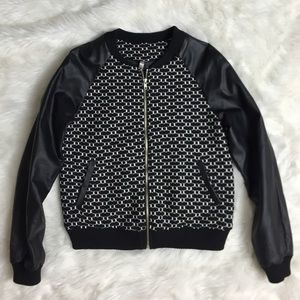 Jackets & Blazers - Black & White Faux Leather/Knit Jacket SMALL
