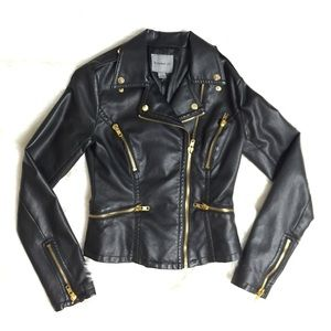 Jackets & Blazers - Black Faux Leather Jacket Gold Hardware Small S