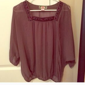 Anthropologie   taupe  sheer top