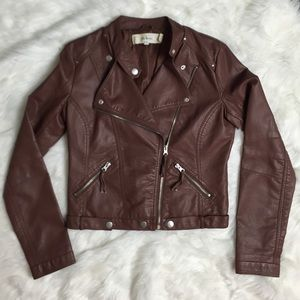 Jackets & Blazers - Brown Faux Leather Jacket - M