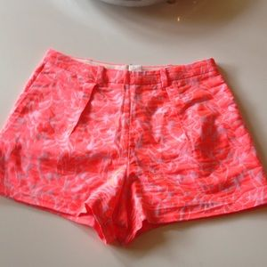 Jcrew neon pink high waisted shorts