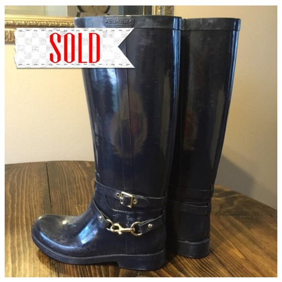 57% off Coach Boots - Sold!!😍sale!!⚡️Coach Blue Lori rain boots ...