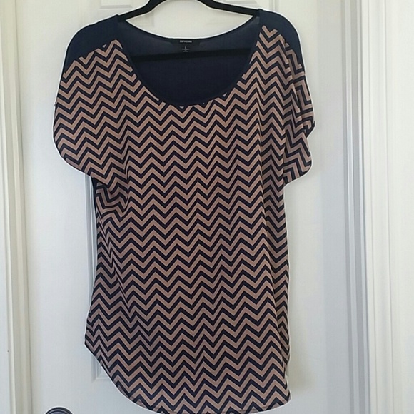 Espresso Tops - Gently Used Chevron Print shirt