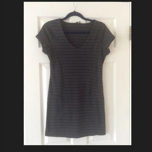 Black & Grey Striped Shift Dress
