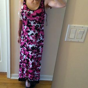 KENSIE pink camo hi low maxi dress
