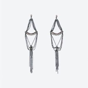 Zara Jewelry - 👸 zara crystal and chain long earrings 👸