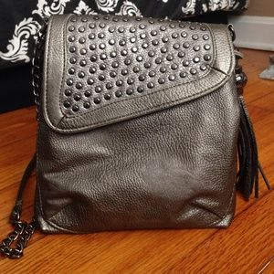 STEVE MADDEN Charcoal Studded Satchel. PU Leather