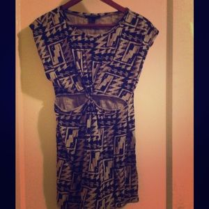 Cut-out Tribal Print Dress