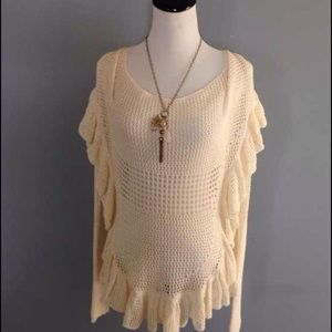Anthropologie angel of the north ruffle sweater