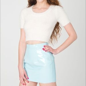 American Apparel Skirts - American Apparel baby blue vinyl mini skirt