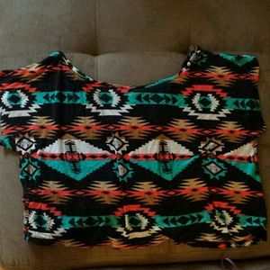 Bold Tribal Print Colorful Crop Top