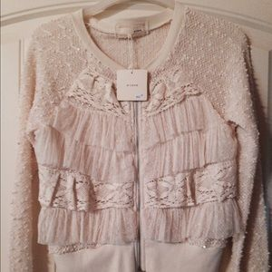 Areve Tops - Cream Sequined Zipper Top with Ruffles