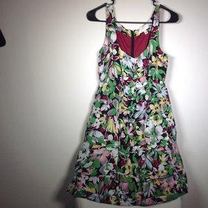 Beautiful dress embellished vibrant flowers
