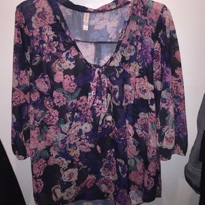 Xhilaration Tops - Sheer flowery blouse