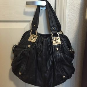 Junior drake black leather shoulder bag