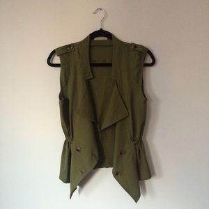 Ann Shen Tops - Drapey Button-Front Vest