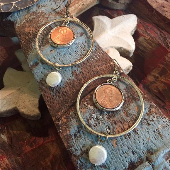 Antiqued  hoops with penny & freshwater pearl
