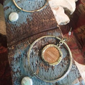 Jewelry - Antiqued  hoops with penny & freshwater pearl