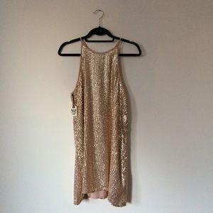 Forever 21 Dresses & Skirts - Tie-Back Gold Sequin Dress