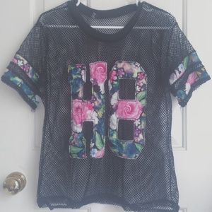 floral mesh coverup tee