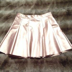 Aqua Rose Gold Metallic Pleated Skater Skirt