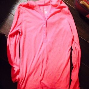 Exhilaration Tops - XL Hooded Hot Pink Thermal by Exhilaration
