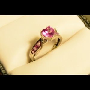 Rogers and Hollands pink heart shaped ring