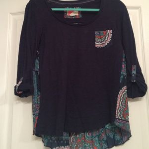 ANTHROPOLOGIE Blue and colorful print flow top