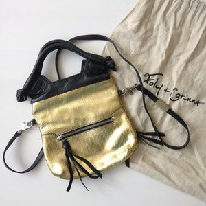 Foley + Corinna Gold & Blck Leather Disco City Bag