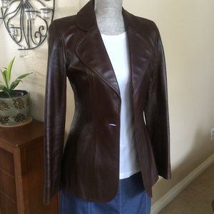 CHANEL Boutique Chocolate Brown Leather Jacket