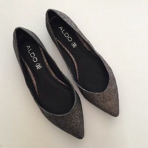 ALDO Shoes - Pewter Glitter Flats