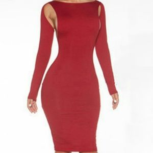 Dresses & Skirts - Super sexy redlong sleeve hollow design midi dress