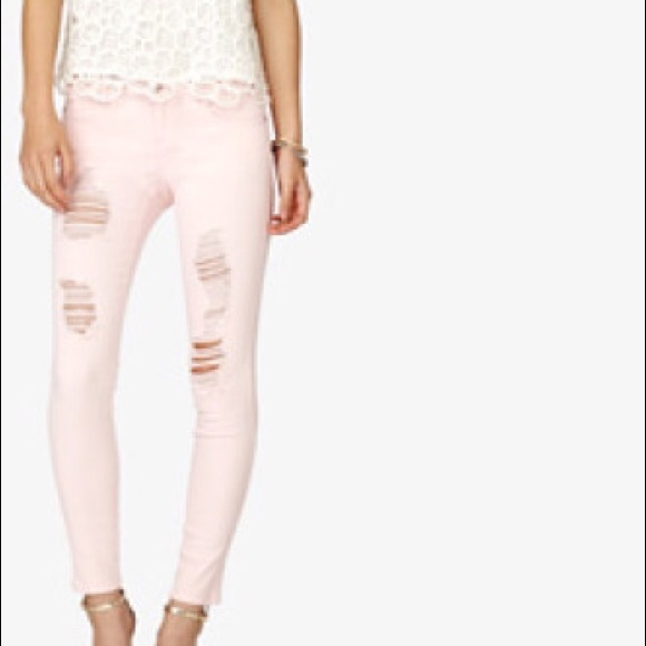 40% off Forever 21 Pants - Light Pink Distressed Skinny Jeans from ...