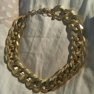Gold chain necklace choker