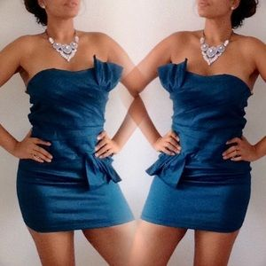 Snap Dresses & Skirts - Chic Teal/Blue Party Dress