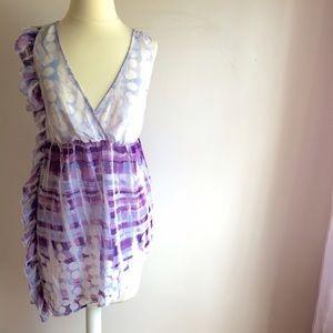 Purple Print Top w/Ruffle