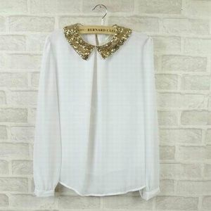 Tops - Gold sequin collared white blouse