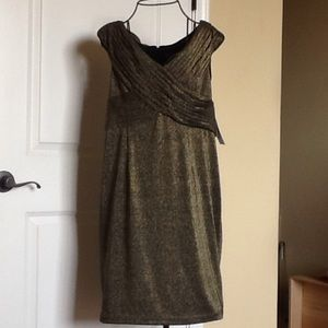 Black and gold shimmery cocktail dress