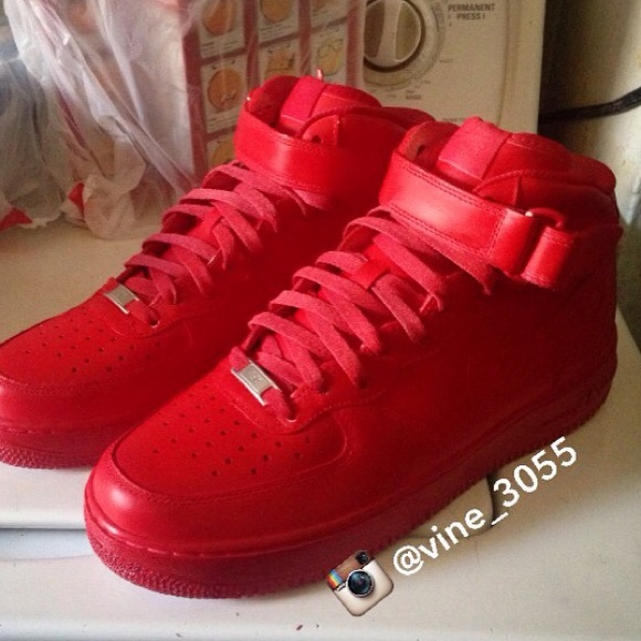 Shoes Red Nike Air Force Ones Custom Poshmark