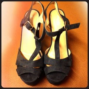 Black Ankle Strap Faux Suede wedge