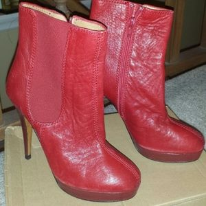 Brand new Zara leather heel red ankle boots