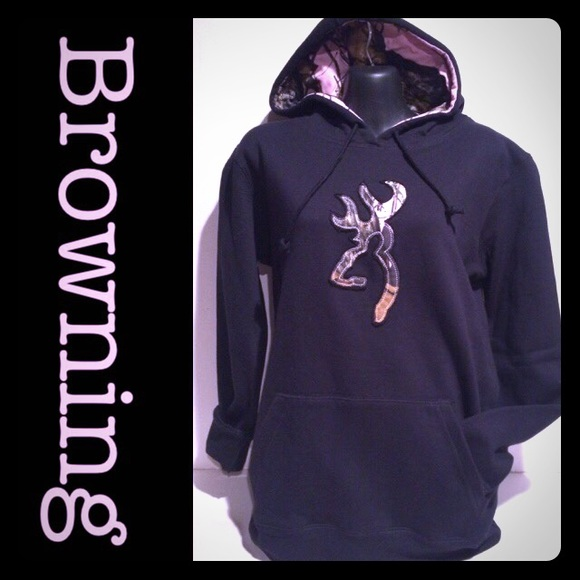 ed72b2066e723 Browning Sweaters | Nwt Womens Black Pink Camo Hoodie | Poshmark