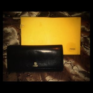 Fendi Black Leather Trifold