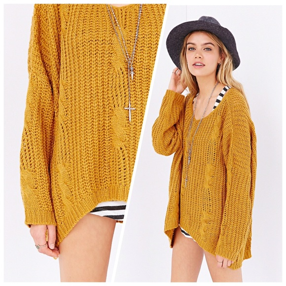 64% off UNIF Sweaters - UNIF x UO Orange Gold Cable Knit Oversized ...