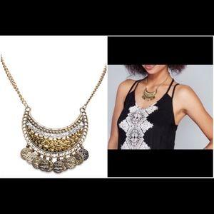Jewelry - NWT! Gold gypsy coin bib necklace