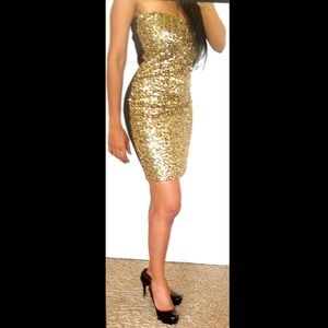 Black and Gold strapless sequin dress. NWT.